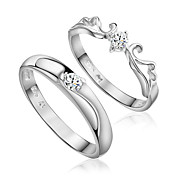 Lovely Sterling Silver Cubic Zirconia Couple's Rings