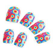 24 PCS Colorfull Flower Nail Art накладные ногти клеем