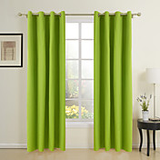 Spring Cotton Solid Eco-friendly Curtains (Two Panels)