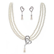 Ivory Pearl Two Piece Two Layer Ladies Necklace and Earrings Jewelry Set (38 cm)