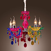 Artistic Acrylic Pendant Lights with 5 Lights Chrome Finished Rainbow Design