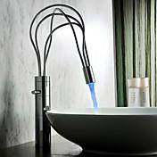 Современные хромированная отделка одной ручкой светодиодные кран раковины ванной комнаты (высокий)