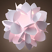 60W Artistic Pendant Light with 1 Light in White Floral Design