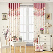 (Two Panels) Pink Floral Print Energy Saving Curtains