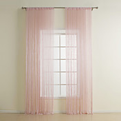 Modern Pink Polyester Bead Design Curtain Line (One Panel)
