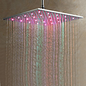 Contemporary 7 Colors Changing LED Chrome Shower Faucet Head of 16 inch