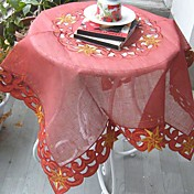 Red Geometric Hollow Square Embroidered Polyester Table Cloth