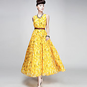 Women's Round Collar Fruit Print Maxi Dresses With Belt
