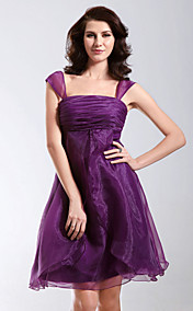 A-line Knee-length Square Neckline Organza Cocktail/ Homecoming Dress