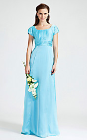 Sheath/Column Scoop Floor-length Chiffon Stretch Satin Bridesmaid Dress
