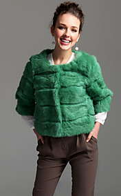 Collarless 3/4 Sleeve Rabbit Fur Party/Career Jacket (More Colors)
