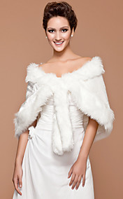 Faux Fur Wedding Bridal Shawl