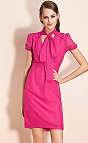 TS Short-sleeved Chiffon Bow Dress (More Colors)
