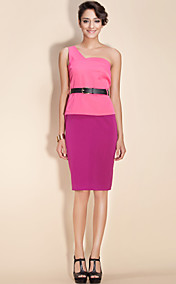 TS One-Shoulder Belted Pencil Dress