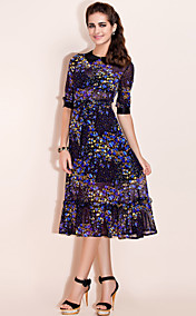 TS цветок печати миди платье