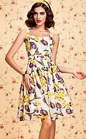ц старинные фрукты печати качели платье