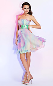 A-line Strapless Short/Mini Chiffon Dress