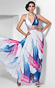 Sheath/Column V-neck Halter Floor-length Chiffon Dress