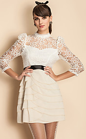 TS Puff Sleeve Lace Embroidery Layered Ruffle Dress