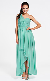 Shealth/Column Sweetheart Asymmetrical Chiffon Bridesmaid Dress