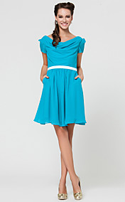 A-line Cowl Short/Mini Chiffon Bridesmaid Dress