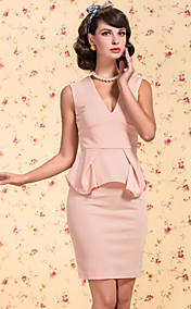 TS VINTAGE V Neck Peplum Slim Sheath Dress