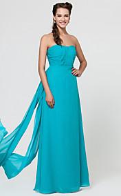оболочкой / колонки возлюбленной длиной до пола, шифона платье невесты с пояса / ленты