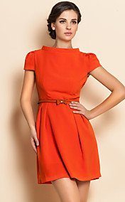TS Simplicity Stand Collar Puff Sleeve Belt Dress