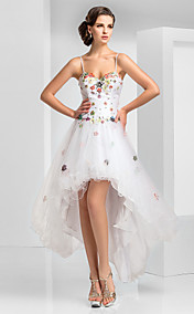A-line Sweetheart Asymmetrical Short/Mini Tulle Evening Dress With Flower(s)