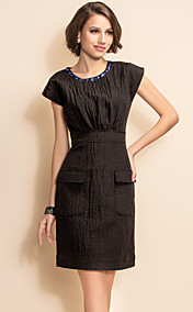 TS Gem Decor Pocket Textured Sheath Dress