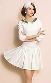 TS Beads Collar Quarter Sleeve Swing Dress
