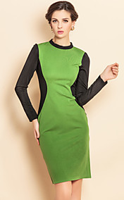 TS Contrast Color Long Sleeve Jersey Dress