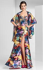 оболочкой / колонки возлюбленной длиной до пола, атласные вечерние платья с рисунком / печати