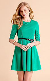 TS Simplicity Round Neck Half Sleeve Pleats Dress(excl.belt)