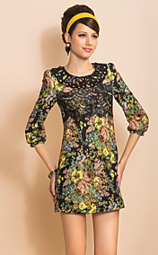 TS Round Collar Lace Floral Print Jacquard Sheath Dress