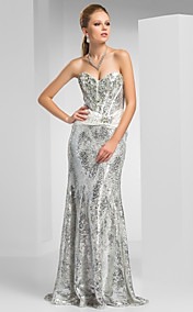 Sheath/Column Sweetheart Floor-length Sequined Evening Dress