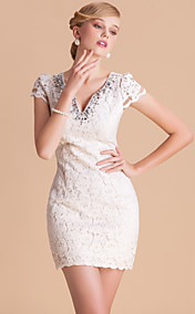 TS High End V Neck Handmade Beads Slim Lace Sheath Dress