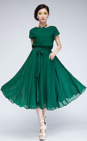 Women's Chiffon Midi Dress with Self-belt