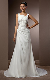 Sheath/Column Straps Court Train Chiffon Wedding Dress