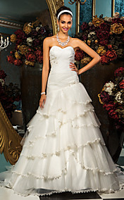 A-line Princess Sweetheart  Sweep/Brush Train Tulle Wedding Dress