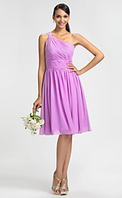 Sheath/Column One Shoulder Knee-length Chiffon Bridesmaid Dress