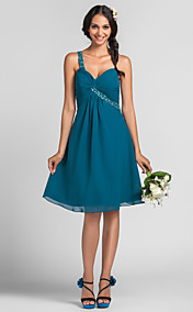 A-line Princess One Shoulder Sweetheart Knee-length Chiffon Bridesmaid Dress