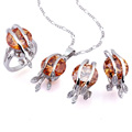 Fashion Cubic Zirconia Sets (Pendant, Ring and Earring) - CZ Jewelry Sets SYX-0243 Peridot (SZY113)