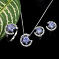 Platinum Cubic Zirconia Star Jewelry Set - CZ Jewelry Set 80820-06 (SZY422)