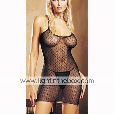 Intricate Venice and Sheer Net Baby Doll / BLACK (LRB2045)