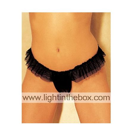Sexy Crotchless Lace Trim Thong Black (LRB5059)(Start From 5 Units)Free Shipping