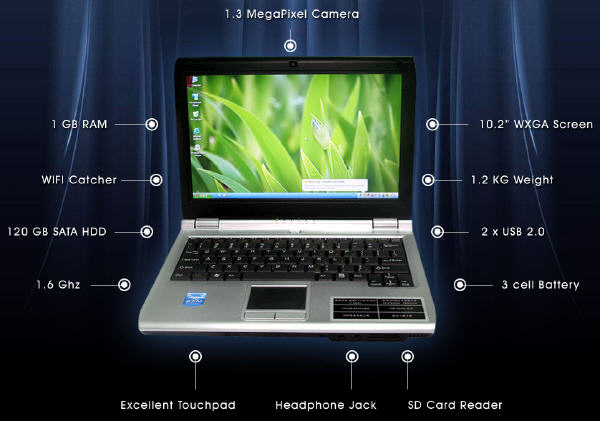 Hot Eee PC with 1.6G CPU/1GB RAM/160GB SATA HDD/10.2