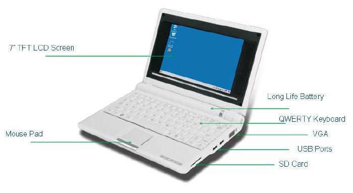 Mini laptop jl7200 7inch umpc tft bildschirm mit samsung arm926ej