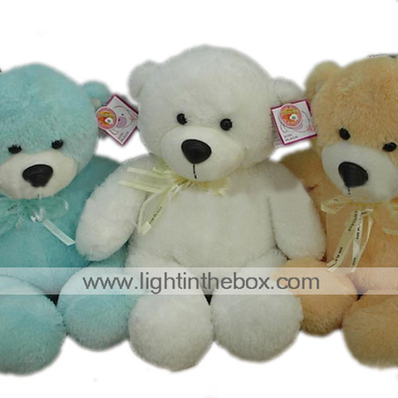1 PC Plush Bear With Ribbon --Blue / Beige / White (MR033) (Start From 5 Units)-Free Shipping