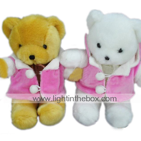1 PC Plush Bear, Beige/White Bear In Pink Coat (MR041) (Start From 5 Units)-Free Shipping